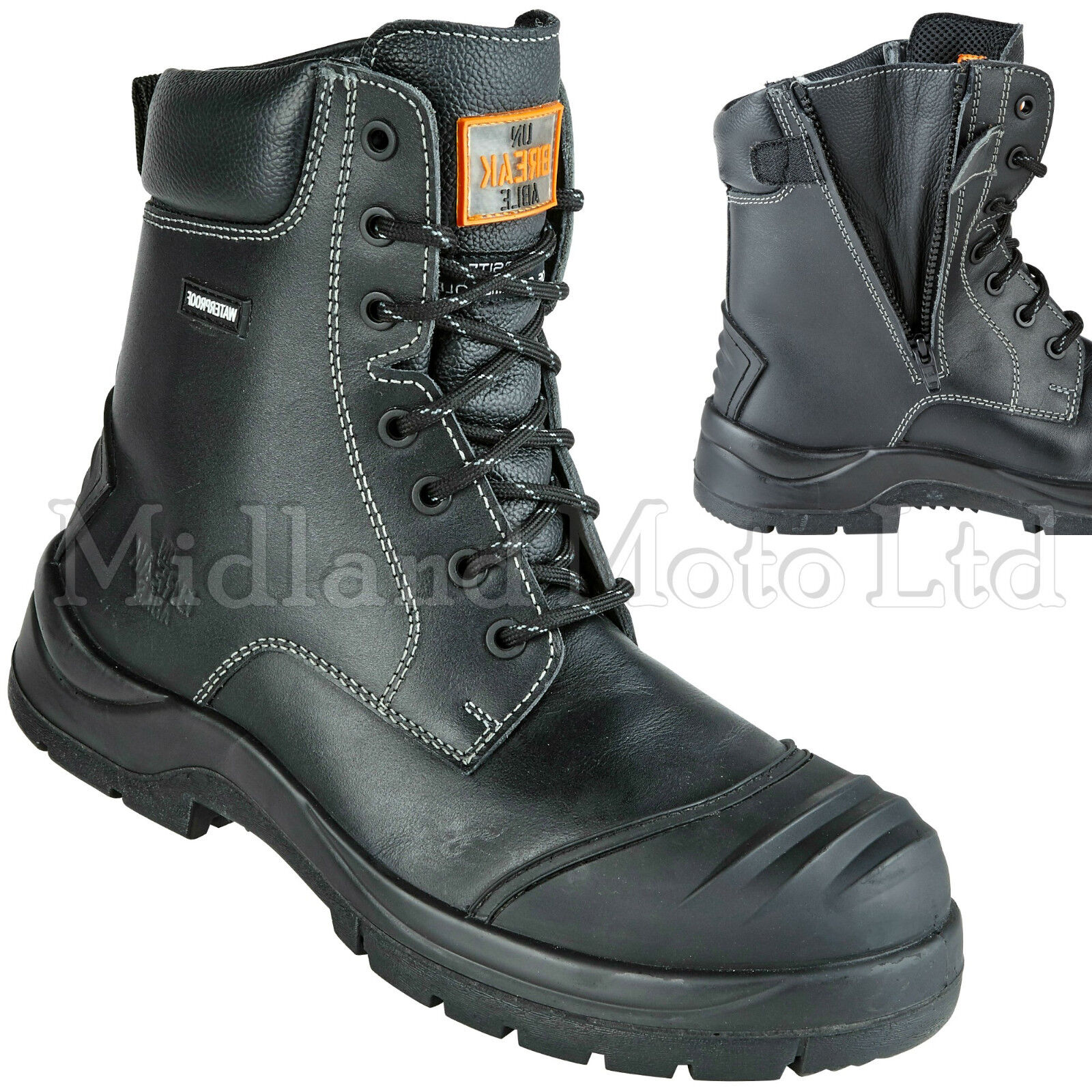 Composite Toe Combat Cap Waterproof Leder Metal Free Zip Combat Toe Safety Stiefel 8105 963d13