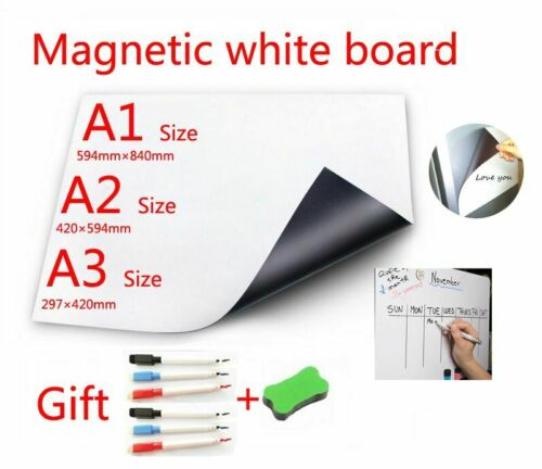 Magnetic Whiteboard A3//A2//A1+6 Marker Pens /& 1 Eraser Dry Erase Planner Board