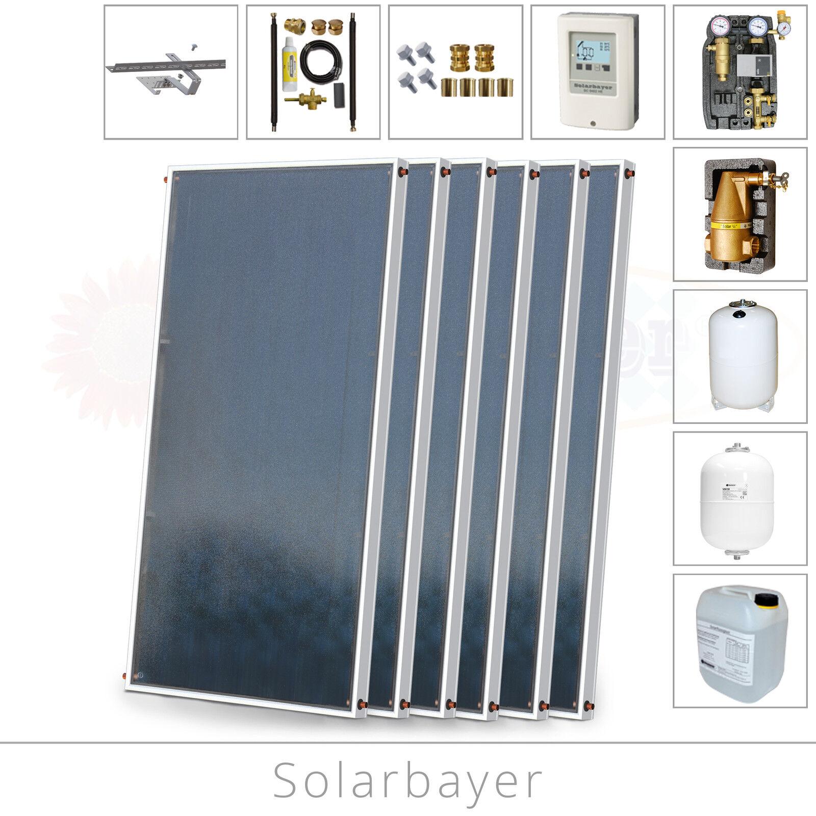Komplette Solaranlage Paket 6 (12,12 m²) Wassererwärmung + Heizungsunterstützung