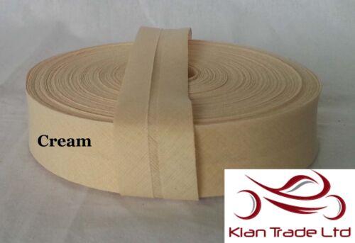 """1/"""" Cotone Bias Rilegatura Nastro 27 Yard Roll Craft Cucito Abito materiale 25mm"""