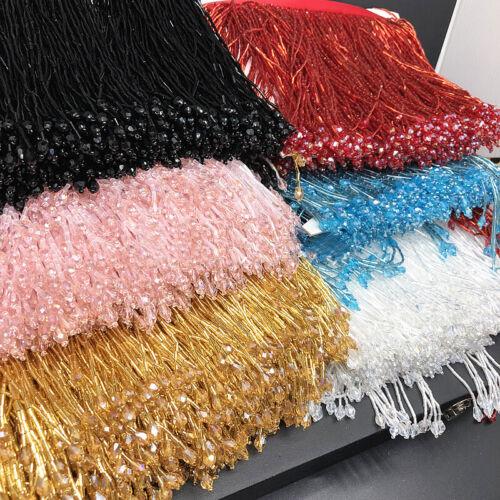 Beaded Glass Tube Fringe Tassel Trim Ribbon Dance Costume Dress 1 Yard
