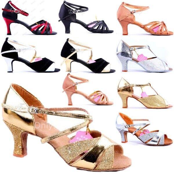 Women Ballroom Latin Tango Adult Brillante Glitter Waltz Heels Salsa Dance Shoes