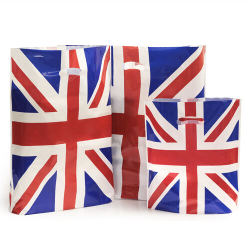 "500 x Union Jack Plastic Carrier Bags Patch Handles 15/"" x 18/"""