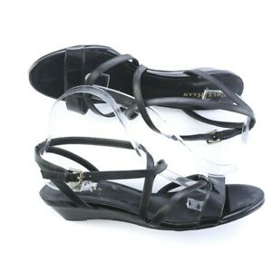 Cole-Haan-Black-Patent-Leather-Strappy-Slingback-Sandals-Shoes-Buckle-Women-10-B