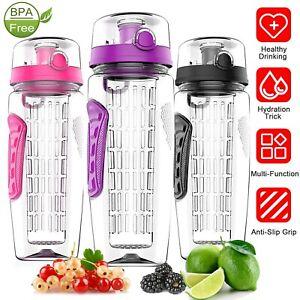 1000ml Sports Water Bottle Fruit Juice Infuser Flip Lid Leak Proof Non-Slip Grip