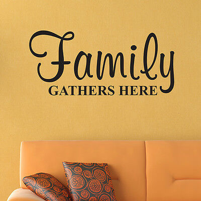 Family Gathers Here WALL DECAL Family Pick Size and Color