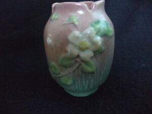 Roseville Small 4 Pink White Rose Vase Vintage Roseville Notched Rim Vase 978 Pink with White Roses 1940 Roseville Pink Green Rose Vase