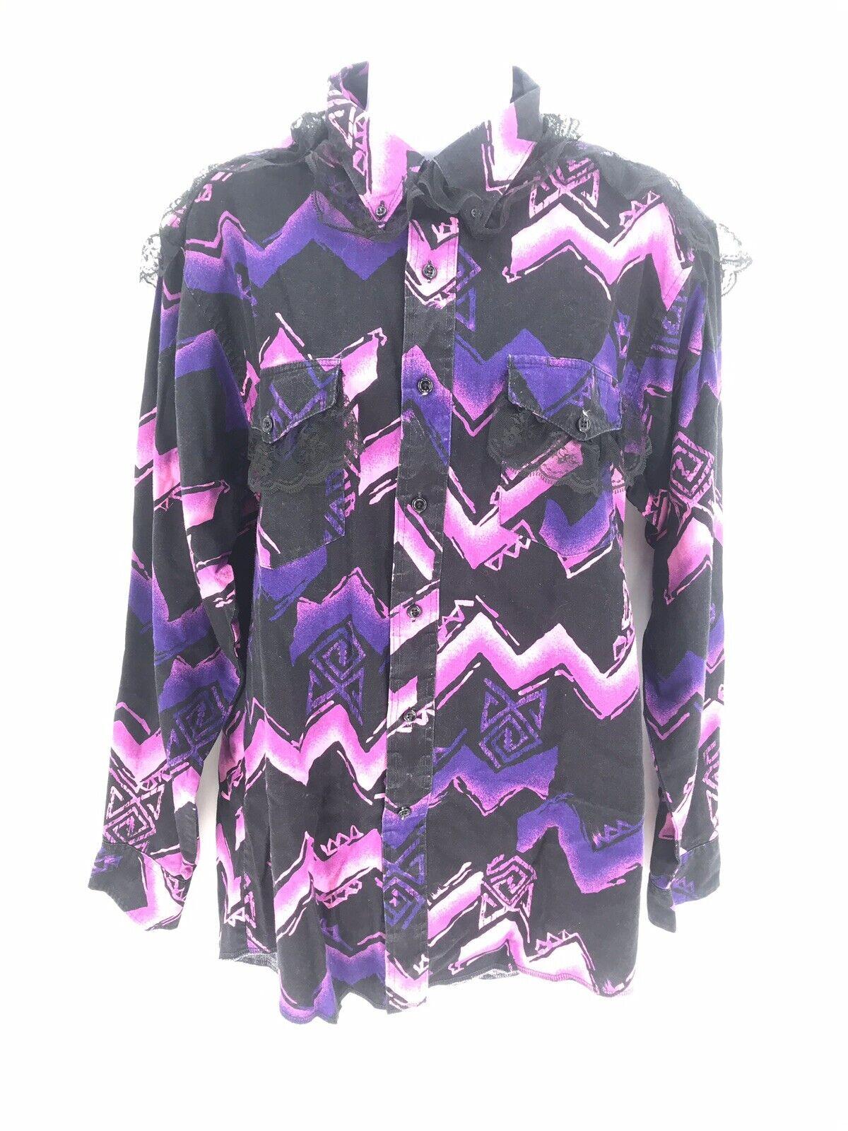 Wrangler Cowboy Cut Western Rodeo Long Sleeve Shirt Women's Large Pink W/ Lace