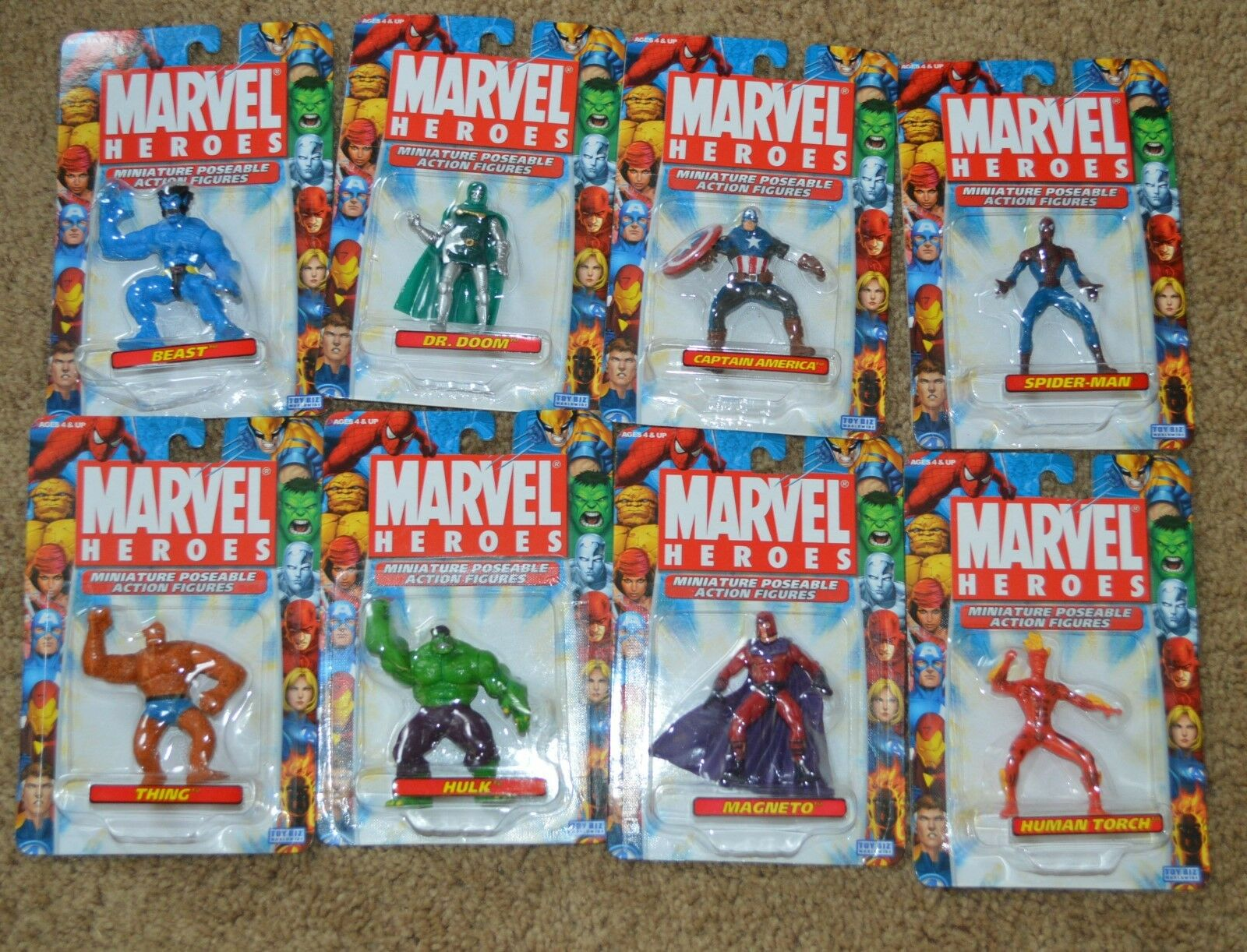 New Toy Biz Marvel Heroes Miniature Poseable Action Figure Lot of 8 Thing