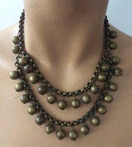 Gorgeous-Antique-Victorian-1800-s-Loaded-Balls-Chain-2-strands-Necklace-Choker