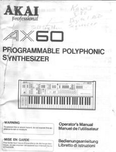 akai ax60 synthesizer owners instruction manual ebay rh ebay com akai user manual download akai user manuals