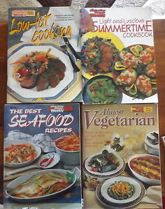 4-Women-039-s-Weekly-Cookbooks-Almost-Vegetarian-Seafood-Light-Summer-Salads-Low-Fat
