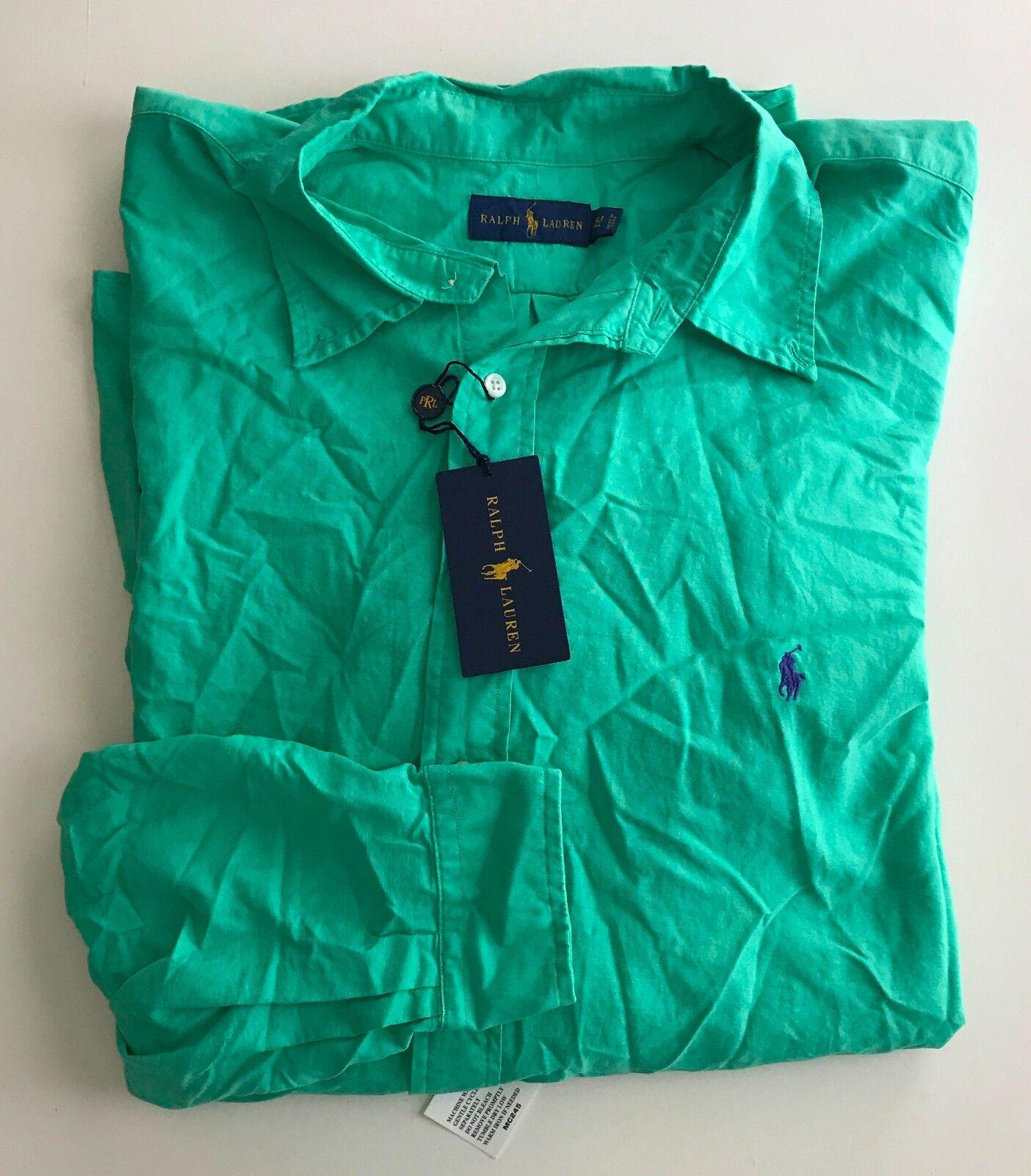 Polo Ralph Lauren Mens Big Tall Garment-Dyed Shirt Pale Kelly Green 3XLT NWD
