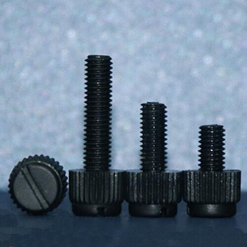 30pcs M3 M4 PA66 Black hand screw nylon black slotted knurled plastic screws