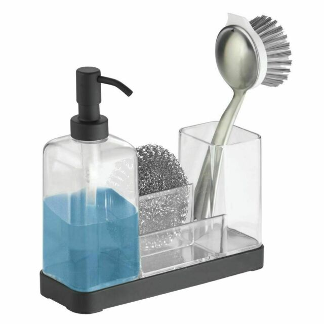 mDesign Plastic Kitchen Countertop Dish Soap Pump & Sponge Caddy