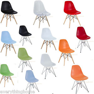 EIFFEL-SHELL-CHAIR-WOOD-DOWEL-OR-WIRE-LEG-BASE-SIDE-DINING-EAMES-STYLE-7-COLORS
