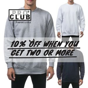 PROCLUB-PRO-CLUB-MEN-HEAVYWEIGHT-CREWNECK-SWEATSHIRT-CASUAL-JUMPER-PULLOVER-TEE