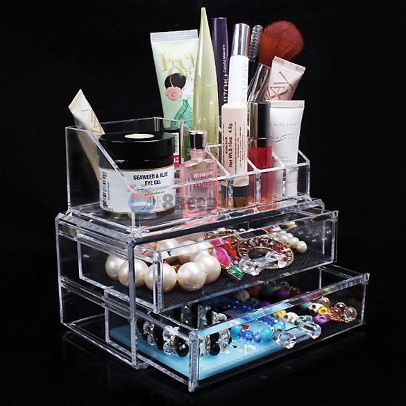 Makeup Cosmetics Organizer Clear Acrylic Drawers Display Box Storage Tabletop #8