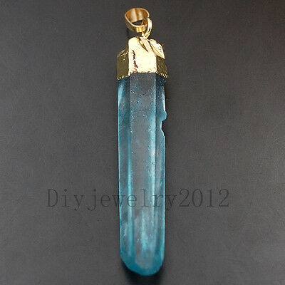 Natural Quartz Crystal Titanium Coated Gold Freeform Pendant Beads 9x50-12x60mm