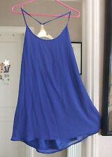 TopShop BNWT UK 8 Fabulous Sheer Strappy Blue Halterneck Dress Long Top Cami