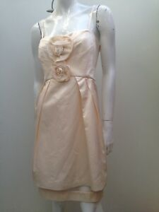 Forever-New-sz-16-Cream-Sateen-Removable-Strapless-Evening-Dress-AS-NEW