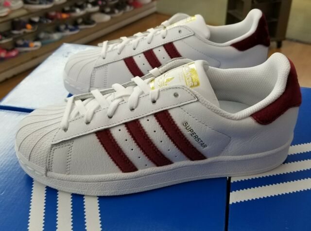 2030eb8501e34 ADIDAS SUPERSTAR WOMEN AC7162 WHITE BURGUNDY WOMEN US SZ 10