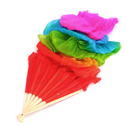 NEW Colorful Hand Made Belly Dance Dancing Silk Bamboo Long Fans Veils 4 Colors
