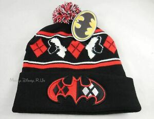 New-DC-Comics-Batman-Harley-Quinn-Embroidered-Knit-Fold-Over-Pom-Beanie-Hat