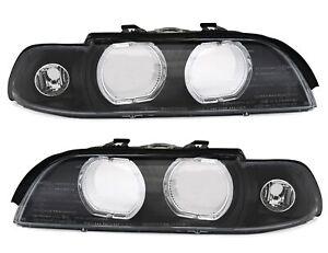 DEPO-Angel-Eyes-Scheinwerfer-Scheiben-mit-LED-Ringe-fuer-5er-BMW-E39-Streuscheibe