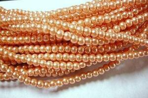 1 of 36 inch strand 4mm glass pearl round beads-over 200 beads-110B