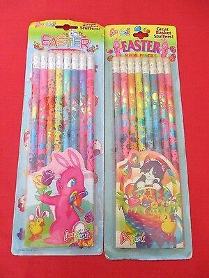 Vintage Lisa Frank Foil Pencils 8 Pack Easter Lot Of 2 NOS Bunny Cat