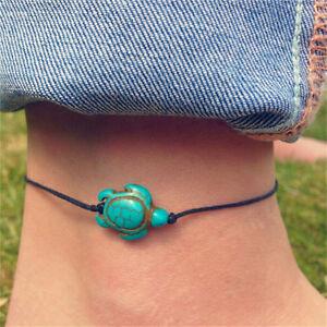 Women-Boho-Turquoise-Turtle-Ankle-Chain-Bracelet-Foot-Chain-Beach-Jewelr-UK-EA