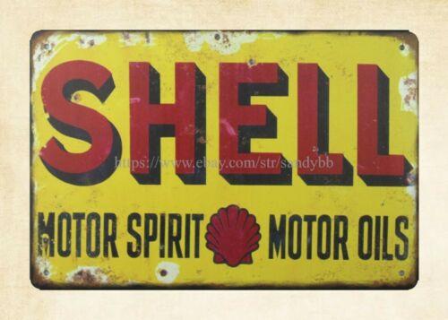 wall restaurant pub SHELL MOTOR SPIRIT MOTOR OILS metal tin sign