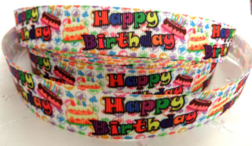 1m HAPPY BIRTHDAY DESIGNS GROSGRAIN RIBBON 22//25mm HAIR CRAFTS DUMMY CLIPS CAKE
