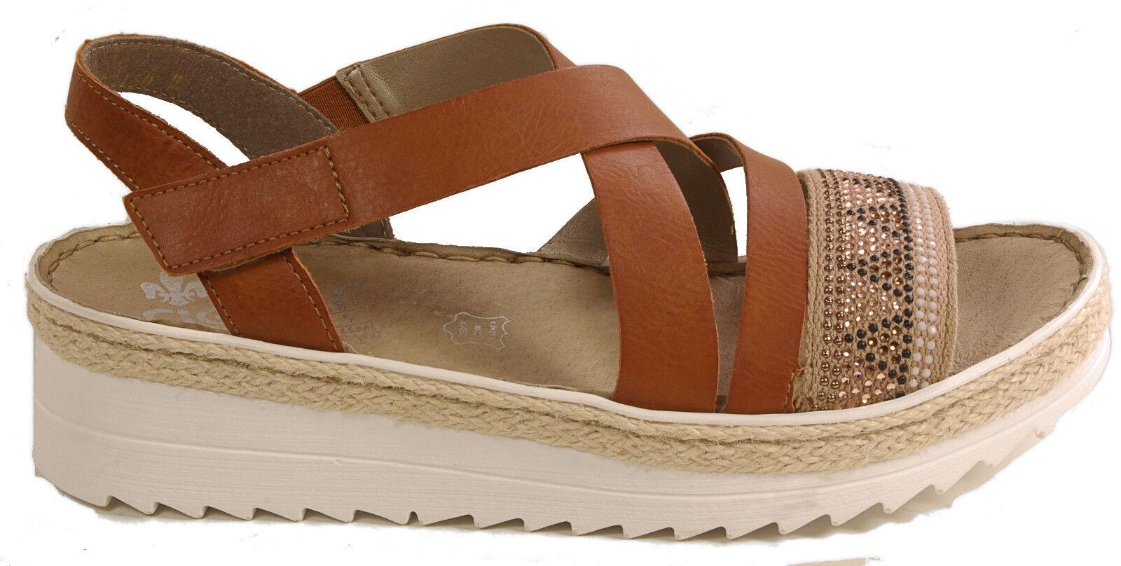 Rieker sandalias zapatos con tiras sandalias plataforma marrón cuero de cuero marrón pedrería nuevo 8fddcb