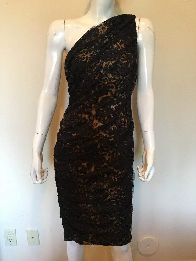 Tadashi Shoji One shoulder Lace Overlay Animal Print Lining 6 Dress New