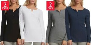 Women-039-s-Felina-Long-Sleeve-Rib-Knit-Henley-Tee-Shirts-2-Pack-Choose-Size-amp-Color