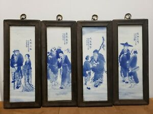 Rare-Set-of-4-Chinese-Porcelain-Blue-amp-White-Plaque-The-Eight-Immortals