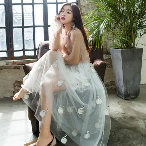 Swan Embroidery Tulle Fabric Mesh Sheer DIY Tutu Skirt Wedding Dress Cloth