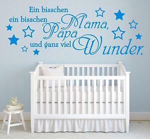 Wandtattoo-Spruch-Ein-bisschen-Mama-Papa-Wunder-Geburt-Wandaufkleber-Aufkleber