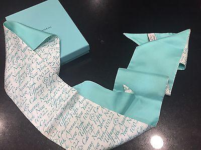 "Tiffany & Co Womens Scarf 32 1/2"" x 2"" Silk Tiffany Blue and White"