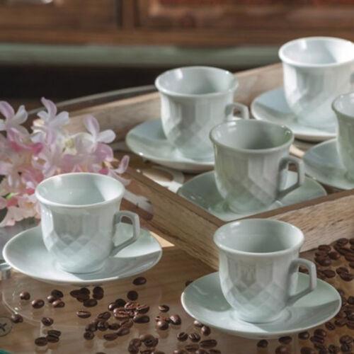 Set da 6 pezzi tazzine caffè ceramica bianca 6 piattini AD TREND