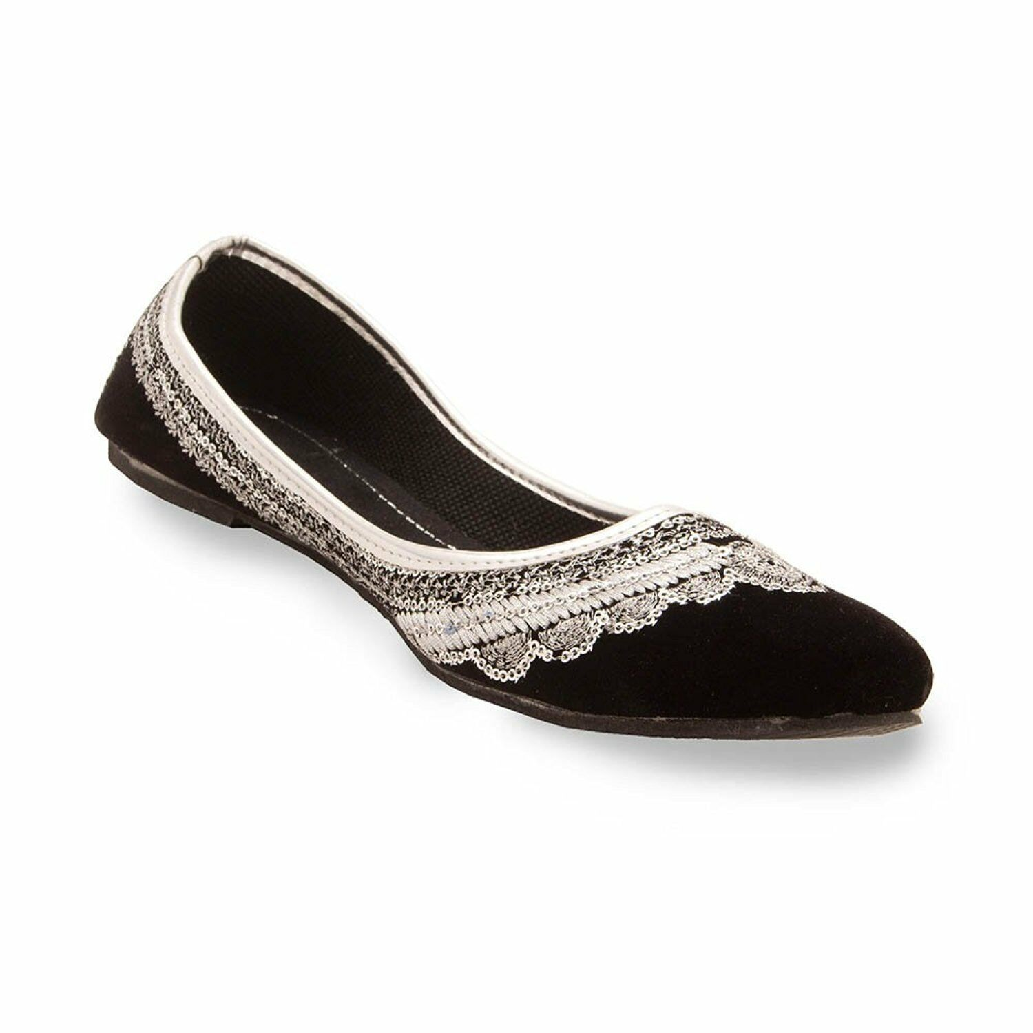 Women Jutti Black Silver Velvet Work Slippers Mojari shoes US Handmade Punjabi