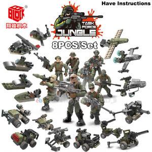Fit-Lego-Mega-Minifigures-Military-Soldiers-Army-Weapon-Machine-Gun-Blocks-8PCS