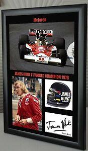 James-Hunt-F1-McLaren-Framed-Canvas-Signed-Print-034-Great-Gift-034