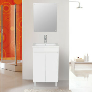 20 Bathroom Vanity Cabinet White With Undermount Resin Sink Modern
