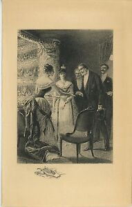 ANTIQUE VICTORIAN HIGH SOCIETY OPERA COSTUME DRESS EVENTAIL LYRE REMARQUE PRINT