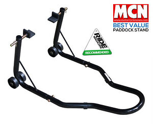 NEW-UNIVERSAL-MOTORCYCLE-SPORTBIKE-TRACK-DAY-GARAGE-PIT-REAR-PADDOCK-STAND-BLACK