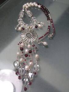 925-silver-sale-41gr-river-pearl-garnet-amp-rock-quartz-beads-floral-necklace