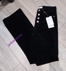 5a9c239e Zara Premium High Waist Black Corduroy Jeans 6 New Skinny Flare ...
